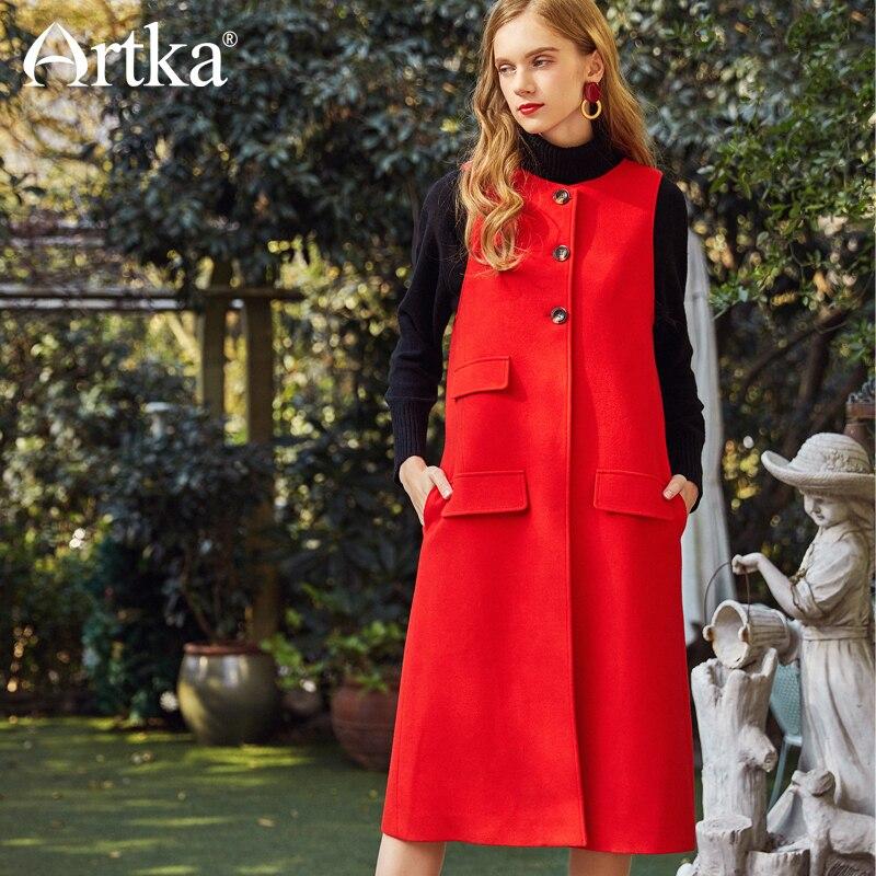 Manches Corail Nouvelles Jw17048 Femmes Printemps Coral Simple De Sans Red Longue Outwear Gilet Artka Uq68ZxX5wx