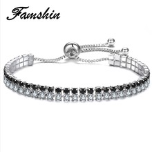 FAMSHIN 3 Colors Cubic Zirconia Tennis Adjustable Bracelet & Bangles For Women Christmas Gifts New Fashion Lady Jewelry Pulseras(China)