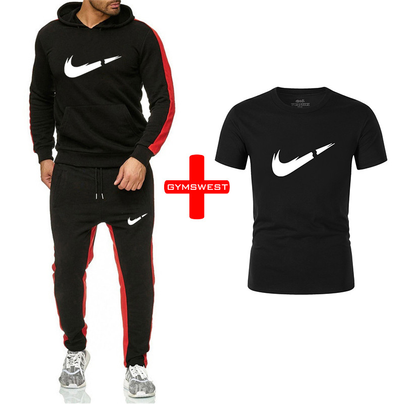 2019 New Brand Tracksuit Fashion Hoodies Men Sportswear 3 Piece Sets Fleece Thick Hoody+Pants+Tshirts Running Sporting Suit Male