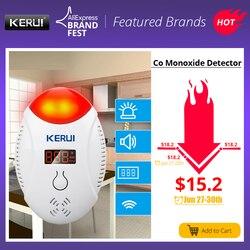 KERUI wyświetlacz LED cyfrowy czujniki tlenku węgla CO stroboskop głos bezpieczeństwo w domu CO gazu węgla czujnik alarmowy czujnik alarmowy