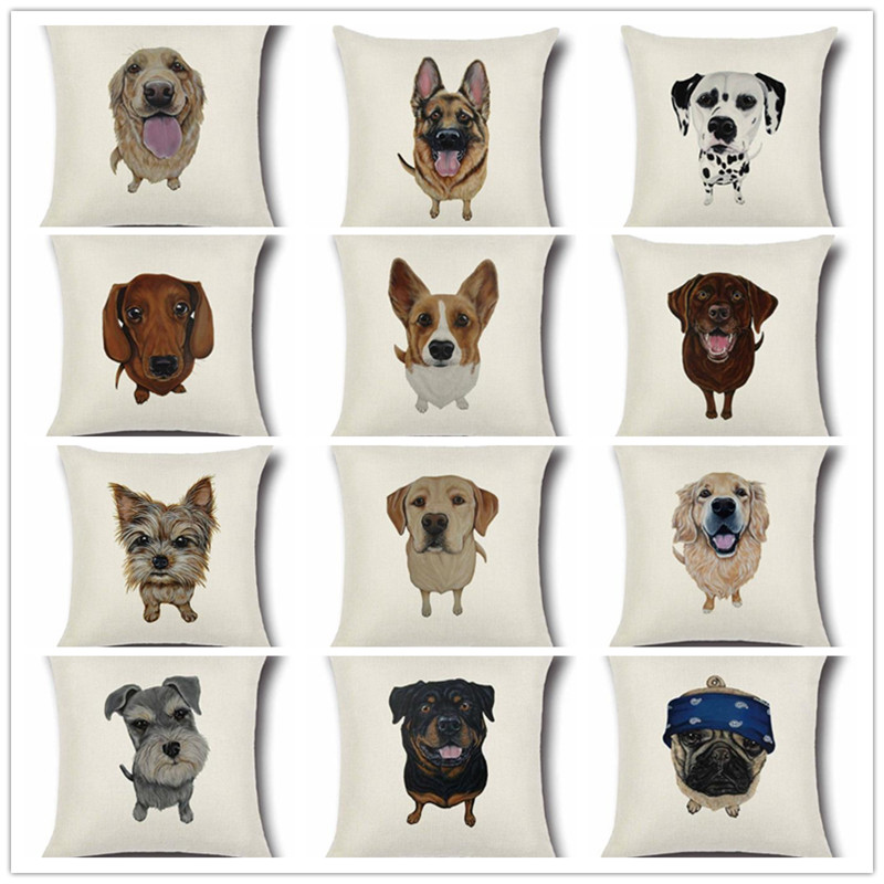 1 Pcs Pug Dog Bulldog Pattern Cotton Linen Throw Pillow Cushion Cover Car Home Sofa Bed Decorative Pillowcase funda cojin