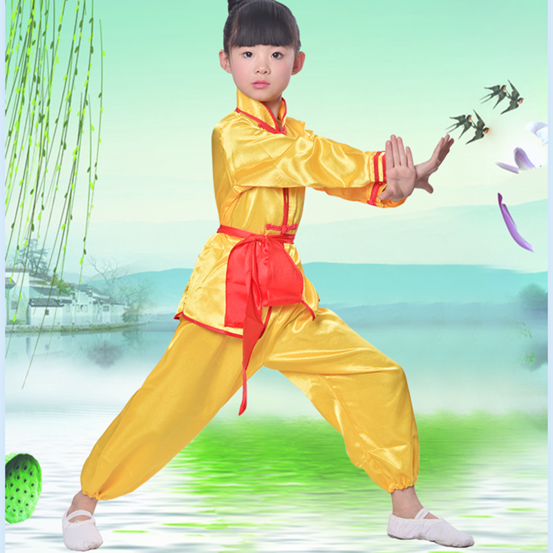 Kinderen Wushu Sets Meisje Jongen Chinese Traditionele Kung Fu Uniform Kids Tai Chi Kleding 3 kleuren Taiji Kleding