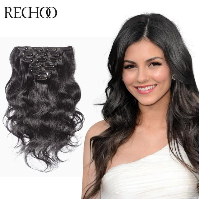 Wavy Brazilian Virgin Hair Clip In Extension 10 Piece Clipping In
