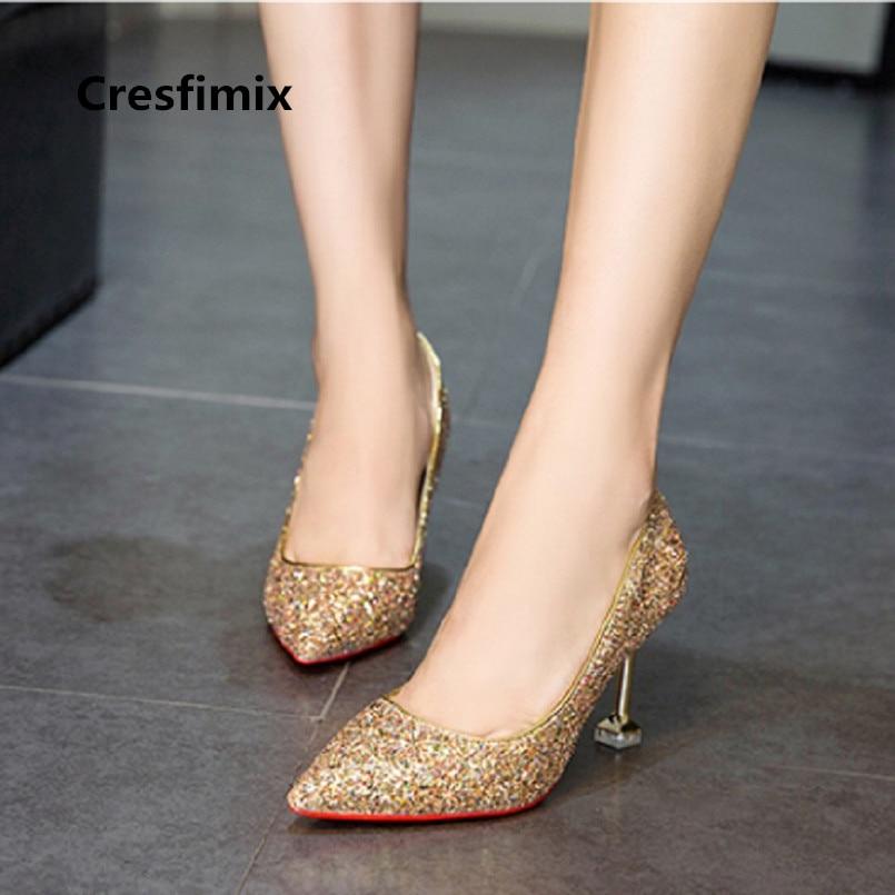 e0efe21ad6096 US $9.65 |Tacones Altos Women Cute & Sexy Party Golden High Heel Shoes  Female Casual Silver High Heel Shoes Bridal Wedding Shoes E2984-in Women's  ...