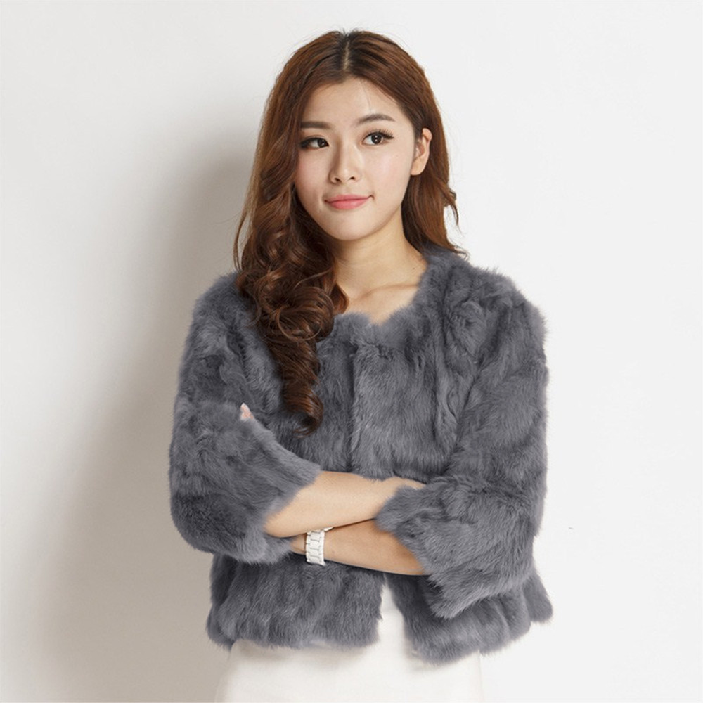 Ethel Anderson Women's Real Rabbit Fur Coat Natural Rabbit Fur Classic O-Neck Fashion Slim Thin Rabbit Fur Coat