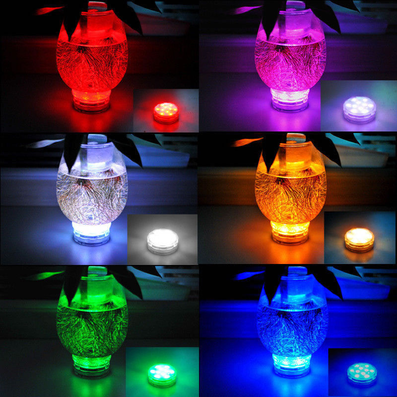 10 LED RGB Multi Color Submersible Waterproof Wedding Party Vase Base Light Remote Night Lamp Outdoor Garden Party Decoration Платье