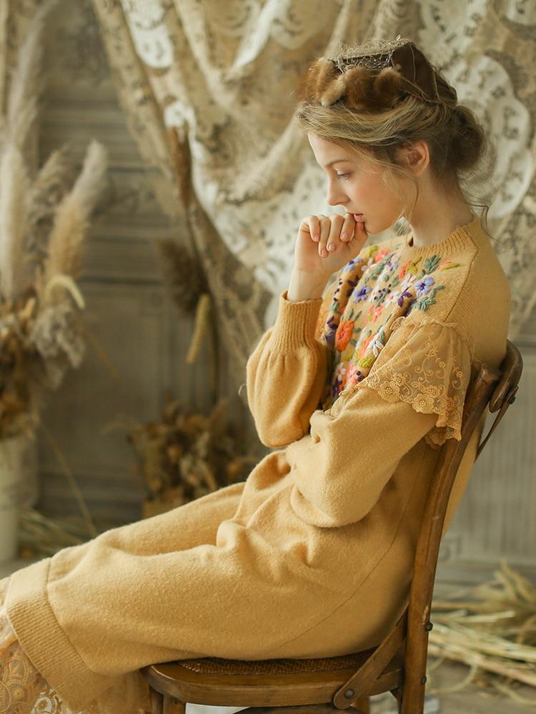 Hiver Filles Nouvelle Tricoté Lâche Mori Conception Jaune Automne Vintage Victoria Chinoiserie Originale Femmes Broderie Lynette's Dentelle Robes zHqREE