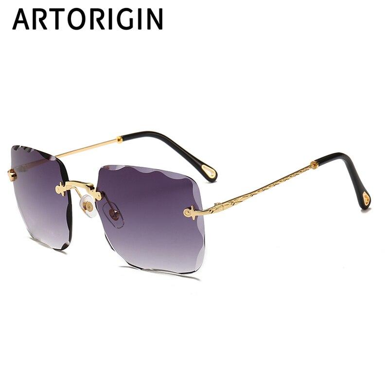 ce8d165ca Square Rimless Sunglasses For Women Tint Gradient Color Woman Sunglases  UV400 Diamond Trimming Cut Shades Female