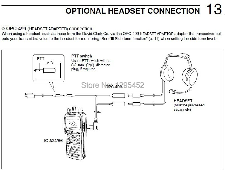 NEW ICOM OPC-499 Headset Adapter for IC-A24 IC-A6 IC-A22 IC-A3 IC-A14 IC-A14S
