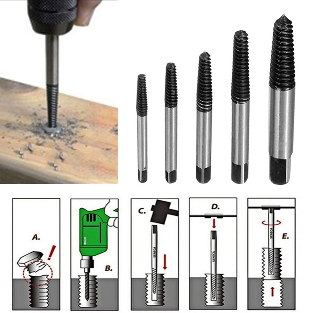 Durable 5PCS Screw Extractor Drill Bits Guide Broken Damaged Bolt Remover Car-styling Storage Box Car Repair Tools