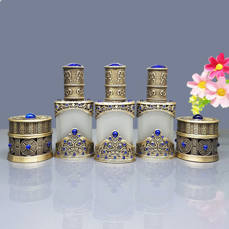 8g Vintage Glass Frosted Cream Jar 12ml Eeeential Oil Dropper Bottle Cosmetic Container With Metal Case Craft Decoration Gift
