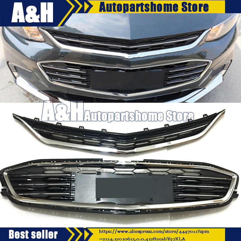 Front Bumper Upper+Lower Grille Grill For 16-18 Chevrolet Malibu 2016 2017 2018