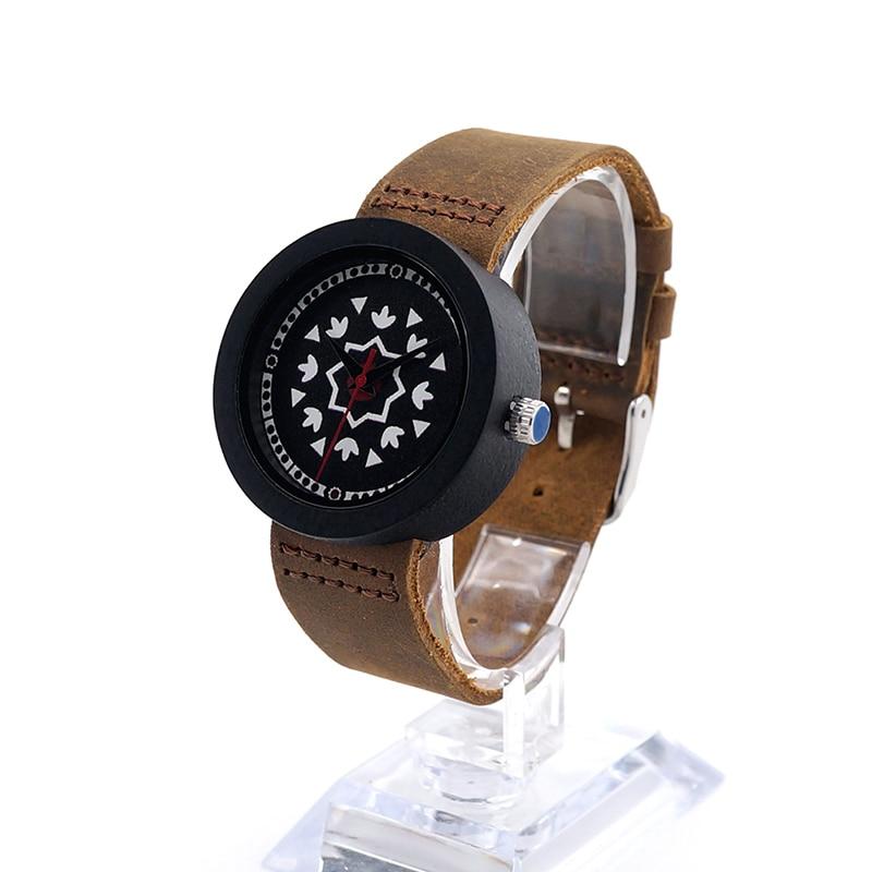 ФОТО BOBO BIRD J18 Women Ebony Wooden Quartz Watch UV Priting Irregular Shape Pattern Dial Wristwatch With Leather Band Relojes Mujer