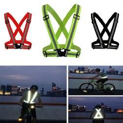 Светоотражающий жилет высокая видимость унисекс Открытый Бег Велоспорт безопасность Регулируемый эластичный ремень флуоресцентная