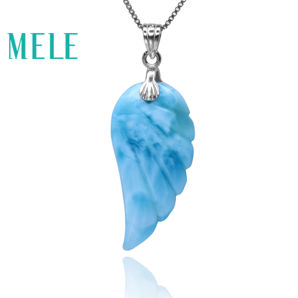 Natural  Blue Larimar 925 Sterling Silver Pendant For Women And Man,Feathered Wings Shape Fashion Simple Gemstone Fine Jewelry