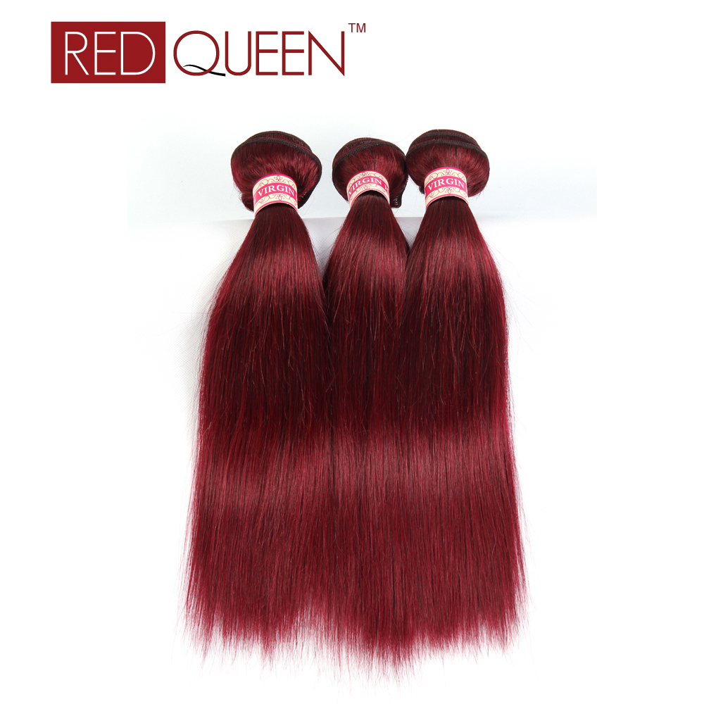 #99J Red Wine Colored Human Hair 3 Pcs Brazilian Virgin Hair Straight Weaves 8A Straight Remi Hair Red Queen Hair Products