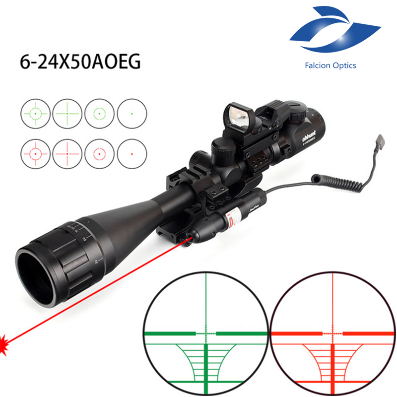Fyzlcion 6-24x50 AOEG Hunting Rangefinder Reticle Rifle Scope with Holographic 4 Reticle Sight Red Green Laser Combo Riflescope 3 10x42 red laser m9b tactical rifle scope red green mil dot reticle with side mounted red laser guaranteed 100%