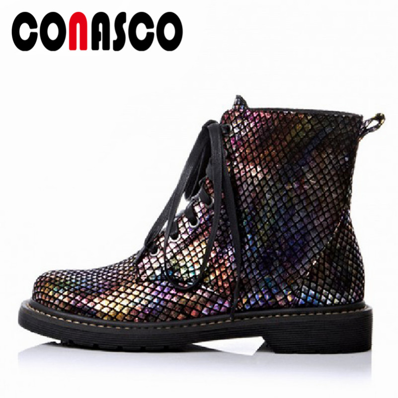 CONASCO New Women Corss tied Ankle Boots High Heels Sexy Party Night Club Shoes Woman Round Toe Motorcycle Boots Short Shoes
