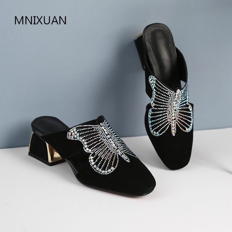 MNIXUAN Luxury rhinestone women slipper sandals shoes 2019new suede square toe solid medium block heeled lazy
