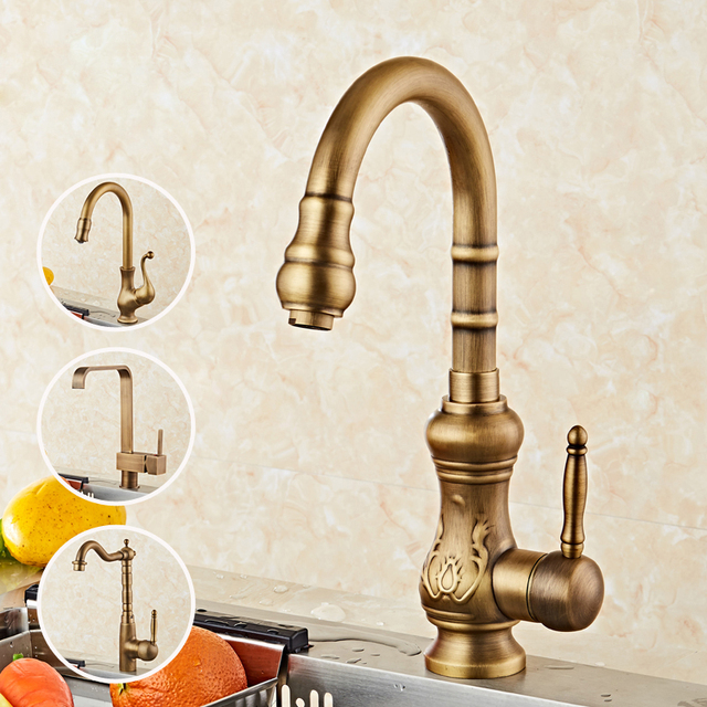 Antique Brushed Brass Kitchen Sink Faucets 360 Degree Swivel Brass Porcelain Mixer Tap Crane Torneira Cozinha Kitchen Faucet