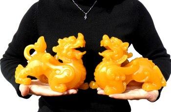 A pair -20CM Large # office Company shop efficacious FENG SHUI Talisman Inviting Money PI XIU yellow jade Sculpture ART statue