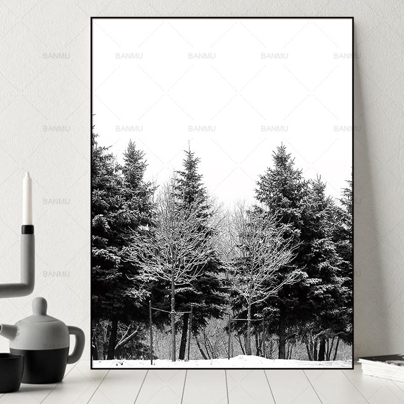 Skandinavia Musim Dingin Salju Hutan Pohon Nordic Abstrak Gambar - Dekorasi rumah - Foto 1