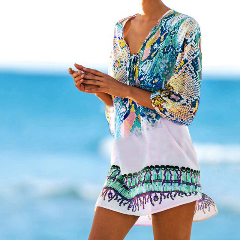 Bathing Suit Cover Ups Kaftan Beach 2020 Beach Tunic Beach Cover Up Print Snake Robe De Plage Cover Up Beach Dress Swimwear