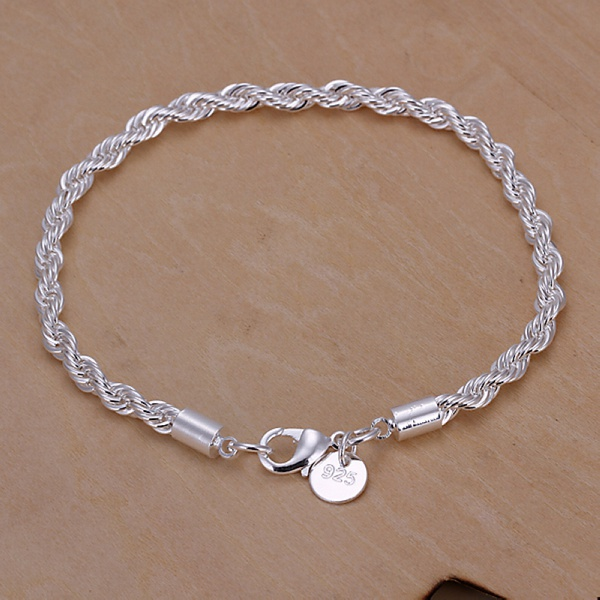 Silver color chain exquisite twisted bracelet fashion charm chain women men solid wedding cute simple models jewelry , H207