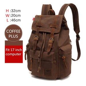 Image 2 - AUGUR nowa męska 17 cal laptopa komputerowy plecak plecaki szkolne mężczyźni w stylu vintage płótno duża pojemność podróży plecak tornister torba