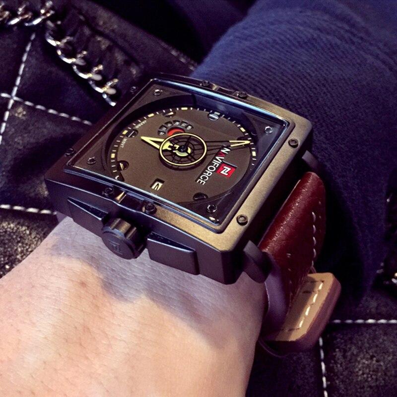 NAVIFORCE hombres relojes de cuarzo deportes moda Top marca correa de cuero creativo impermeable relojes hombre reloj Relogio Masculino