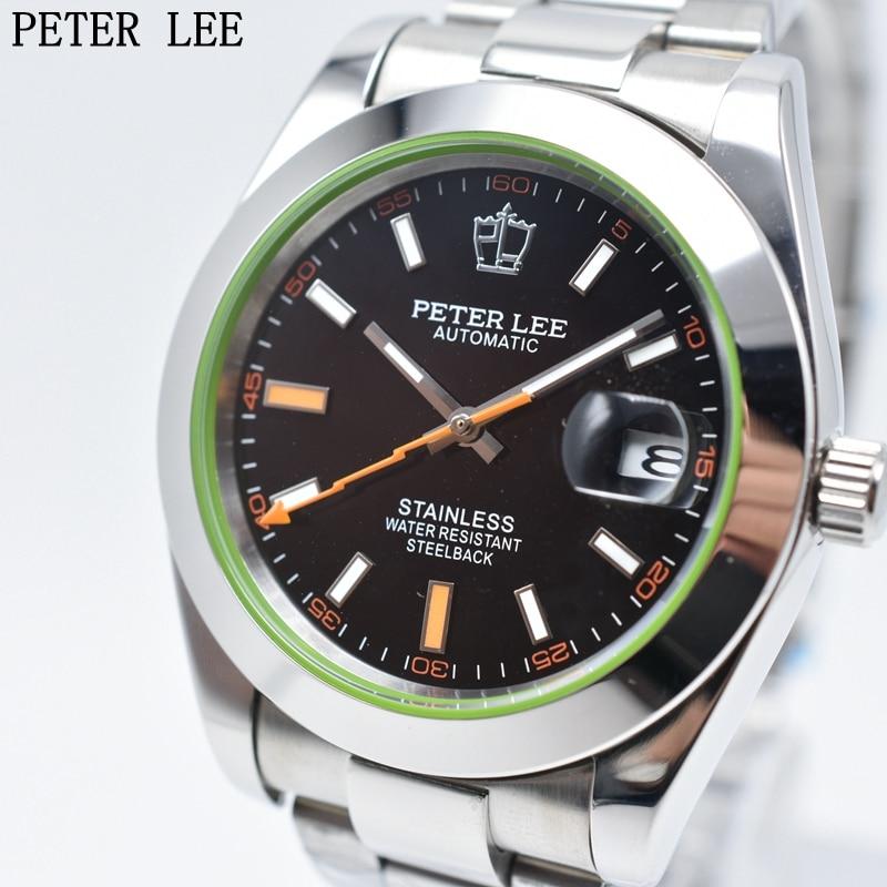 Peter lee mens watches 톱 브랜드 럭셔리 남성 시계 전체 스틸 방수 자동 기계 클래식 비즈니스 남성 손목 시계-에서기계식 시계부터 시계 의  그룹 1