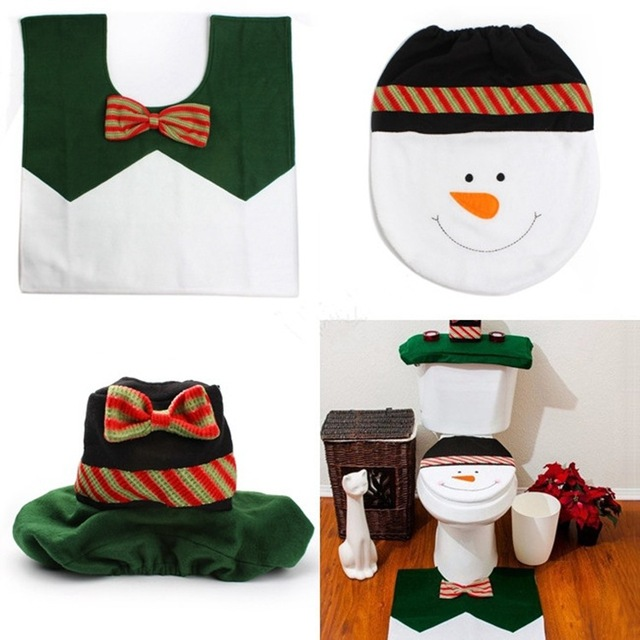 2017 3pcs Set Snowman Christmas Bathroom Toilet Seat Cover Rug Xmas Decoration Bath Mat