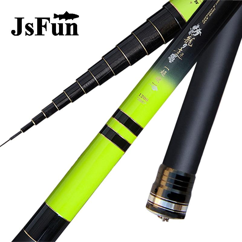 JSFUN Winter Fishing rod 8m 9m 10m 11m 12m 13m Feder Ultra long Carbon Fishing Rod Portable Taiwan Fishing pole FG137