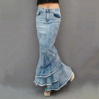 Free Shipping 2019 New Fashion Long Maxi Denim Skirt For Women Mermaid Style Fish Tail High Waist Retro Skirt With Tassels S XL