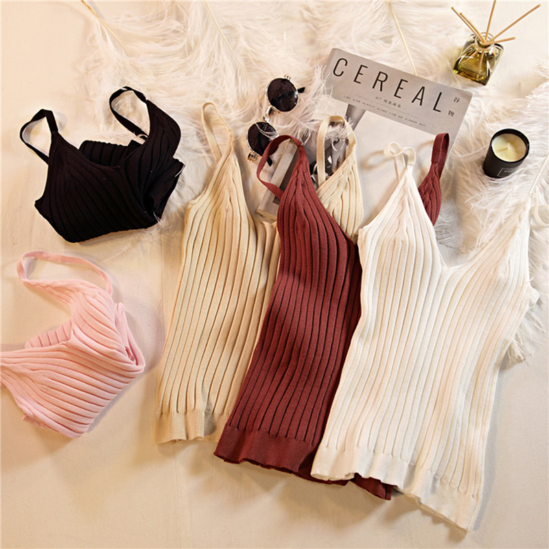 Summer Knitting Tank Tops Women's Knitted Solid Color V Neck Crop Tops Stretchy Camisole Sleeveless Shirts Female Camisas Mujer