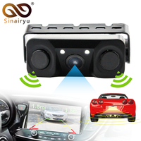 2017 New 2 In 1 LED Sound Alarm Car Reverse Backup Video Parking Sensor Radar System