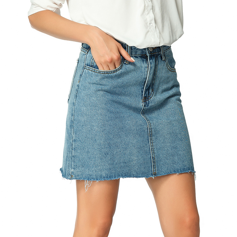 Women Skirts Blue Cotton Denim Jean Skirt with Pockets Summer 2019 Womens Short Mini A Line Korean Fashion Women 39 s Clothes in Skirts from Women 39 s Clothing