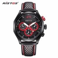 RISTOS Sports Fashion Quartz Watch Casual Genuine Leather Watches Reloj Masculino Date Calendar Mentre Hombre Military