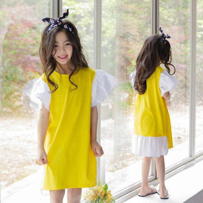 Babados Patchwork Pouco Grandes Vestidos Da Menina Vestidos de Algodão Verão Crianças Amarelas Projetos Adolescente Crianças Boutique de Roupas 2019