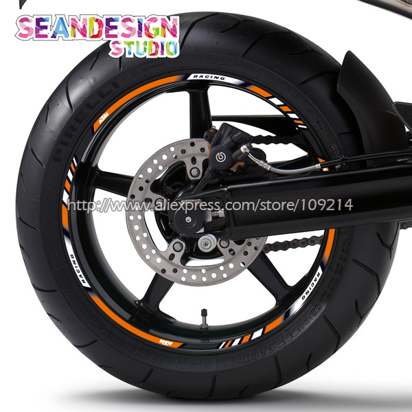 For Duke 200/390/690/990/1190/1290/RC8/RC390 Motorcycle Wheel Sticker Decal Reflective Waterproof Rim Bike Suitable motorcycle front rider seat leather cover for ktm 125 200 390 duke