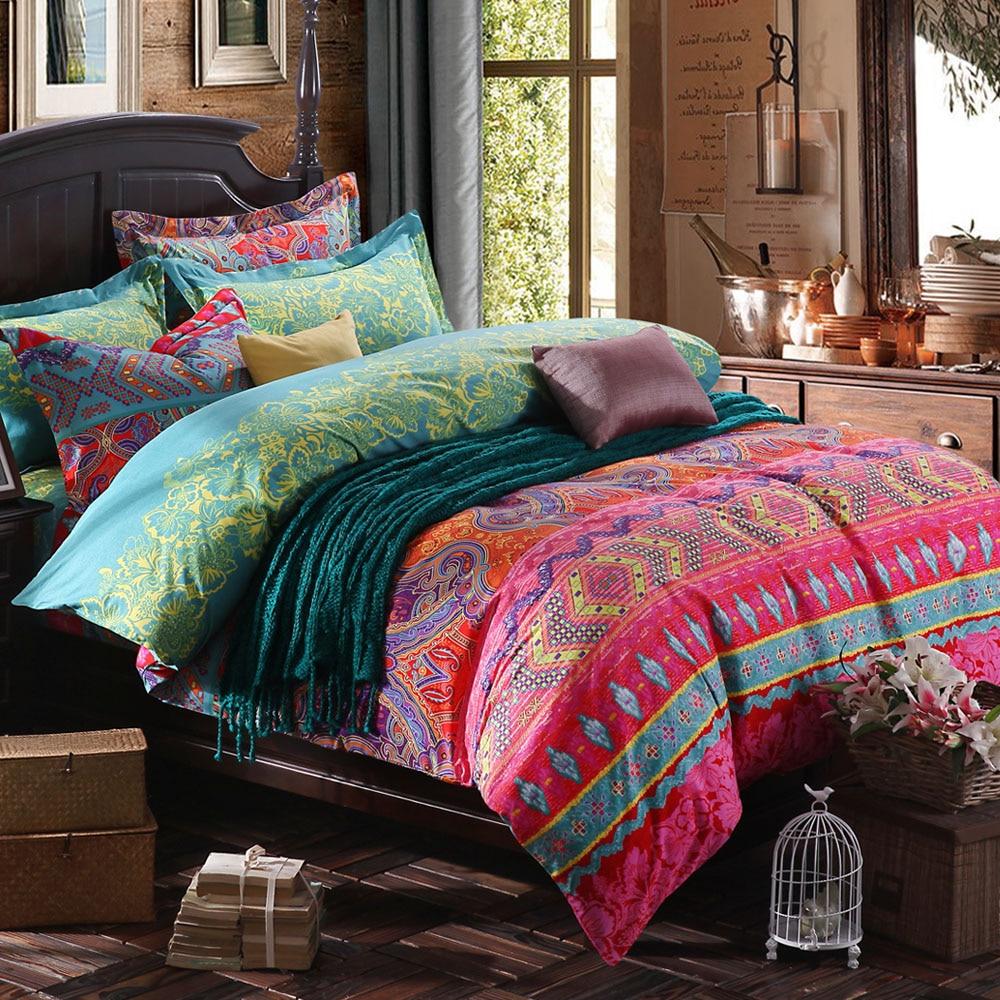 Традиционный китайский хлопковый комплект постельного белья, цветной домашний текстиль в стиле бохо с рисунком королевы, пододеяльник, нав