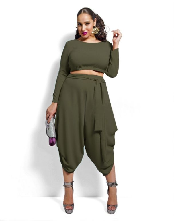 4b34ba16e96 FIYOTE 4 Colors White Red Black Olive Plus Size Crop Top Draped Convertible  Pants Set LC60591 Fashion Woman Plus Clothing Set-in Jumpsuits from Women s  ...