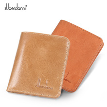 Ultra-thin mini wallet men short purse Retro leather vertical female slim high quality A605-1