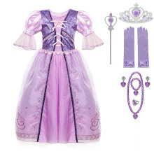 Kids Vintage Princess Dress Anime Tangled Rapunzel Costume Girls Retro Style Make up Party Halloween Cosplay Clothing Gown