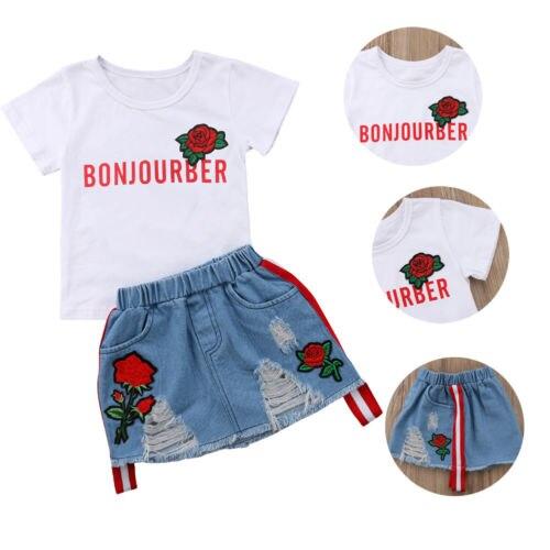 Toddler Newborn Baby Girl Tops T-shirt Floral Skirts Denim Dress Clothes