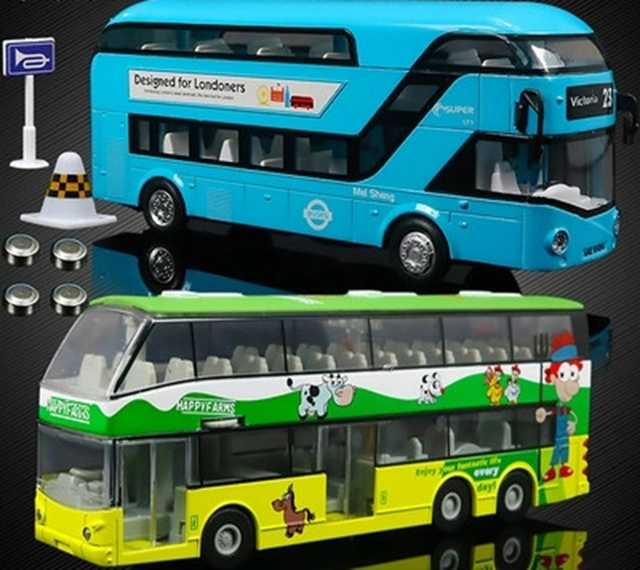 Autobús turístico del autobús de doble capa modelo de coche de juguete niños Regalos de aleación modelo de coche para niños