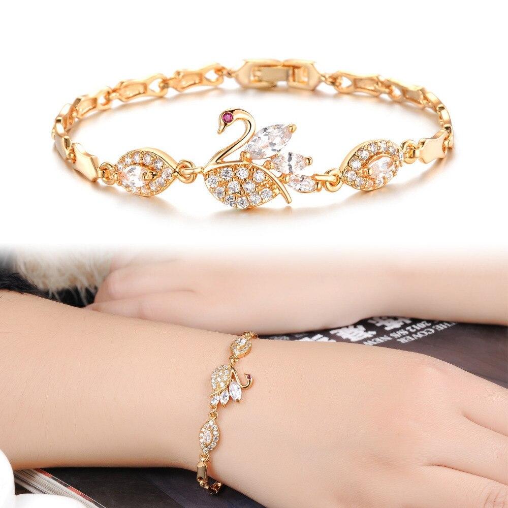 OPK Luxury AAA Zircon Crystal Women Bracelets Elegant Swan Design ...
