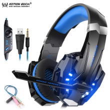 KOTION EACH G9000 Gaming Headphones For Computer Luminous Headset Stereo Bass Wired Headphone With Microphone For PC Laptop PS4 somic g941 headphones for computer gaming headset with microphone wired usb bass headphone for pc