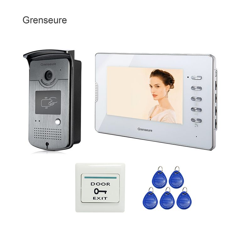 FREE SHIPPING 7 Apartment Color HD Wired Video Door phone Doorbell Intercom System 1 ID Reader Camera 1 White monitor Wholesale