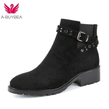 Fashion Women Boots Spring Autumn High Heels Shoes For Female Rivet Buckle Daily Shoes Martin Short Boots PU Leather Ankle Boots buckle detail pu ankle boots